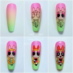 Here we share beautiful dressing tips and practical life ideas, as well as the beauty found in life. Cartoon Nail Designs, Nail Art Designs Videos, Halloween Nail Designs, Halloween Nail Art, Dope Nails, Swag Nails, Vanessa Nails, Nail Art Printer, Nail Art For Kids