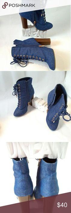Denim lace up zip up block heel booties Denim lace up zip up block heel booties Shoes Ankle Boots & Booties