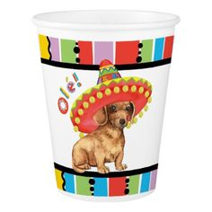 #Fiesta Dachshund Paper Cup - #dachshund #puppy #dachshunds #dog #dogs #pet #pets #cute