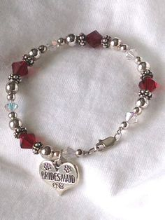 Bracelets: Bridesmaid Sterling Charm on Red/ClearAB Hand-Crafted Bracelet #Handmade #Charm