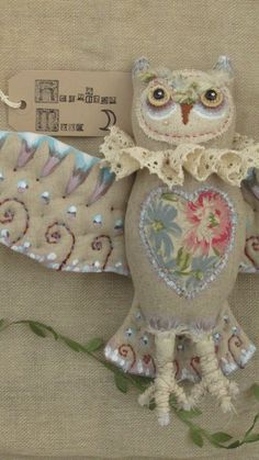 Owl, King Louis the second, by Hepzibah Moon. Art Doll. Textile art. Soft sculpture. fabric, quilted, painted, embroidered, Applique.