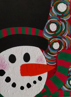 Christmas Snowman Painting Holiday Painting 9x12 Inch