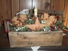 Primitive Wooden Box Hearts Star Candle Lamp Country Vintage #NaivePrimitive