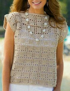 Vintage Crochet Pink Pullover Pattern, C - Diy Crafts Pull Crochet, Mode Crochet, Crochet Lace, Crochet Stitches, Crochet Tops, Crochet Flower, Crochet Potholders, Blouse Au Crochet, Crochet Shirt