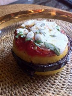 Eggplant and Polenta Napoleon. A unique recipe for lunch or dinner.