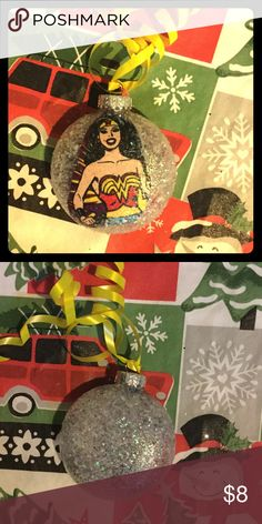 Wonder Woman Handmade Glitter Ornament 🎄❄️ Handmade Decoupage Glitter Ornament comes with a complimentary gift bag 🎄💕❄️ 20% bundle discount 🎄order early many sell out Sassy Glass Accessories