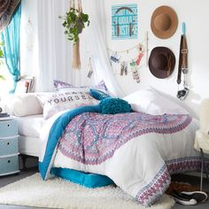 Tap to shop! // Transform your dorm room with boho bedding! The eclectic mix of prints come together for a fun style.