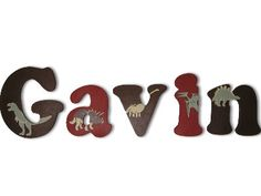 Custom Hand Painted Letters, Wooden Name Letters, Wall Hanging Art Nursery Baby, Dinosaur.