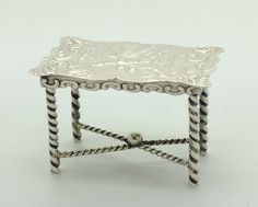 Antique Dutch silver miniature of a 18th century table