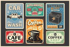 wear and tear + faded colours create a vintage look Retro Font, Retro Logos, Retro Design, Vintage Designs, Free Vector Software, Elements Four, Coffee Shop Bar, Creating Positive Energy, Old Things