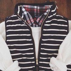 striped vest + white + plaid