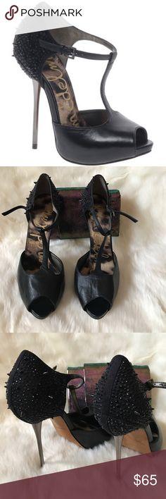 Sam Edelman Scarlett Studded-Back T-Strap Pump Black sz 10.5. Black leather peep toe t-strap with studded heel. UEC WORN A FEW TIMES! Sam Edelman Shoes Heels