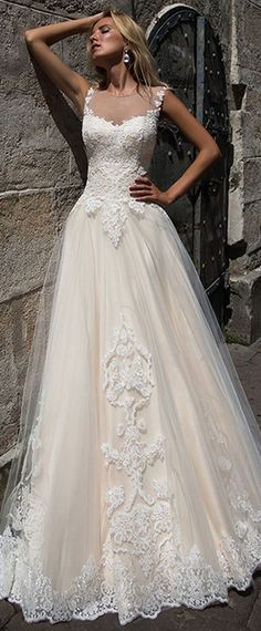NEW! Alluring Tulle Sheer Jewel Neckline A-line Wedding Dress With Lace Appliques