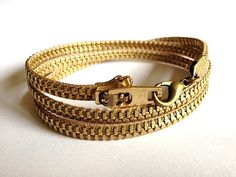 Gold Zipper Wrap Bracelet by ArtologieDesigns on Etsy, $30.00