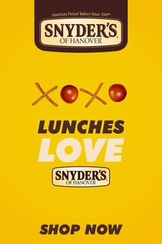 The best lunches are packed with love and that signature Snyder's of Hanover slow-baked crunch. Snyder's Of Hanover, Salty Snacks, Lunches, Salad Recipes, Lunch Box, Love, Simple, Amor