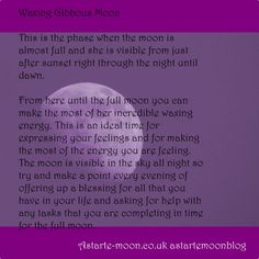 Image result for waxing gibbous moon Waxing Gibbous, Moon Magic, Moon Phases, Full Moon, Spelling, Meant To Be, Spirituality, The Incredibles, Magick