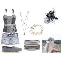 Pretty shoes for teenage girls shirt shorts jewelry toms shoes grey cool cute style stylish fashion Cute Summer Outfits, Girly Outfits, Cute Outfits, Fashion Outfits, Fashion Fashion, Fashion News, Fashion Trends, Cheap Toms Shoes, Toms Shoes Outlet