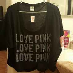 NWT!!! VS Pink top Love Pink with crystals, all there. Never worn PINK Victoria's Secret Tops Tees - Short Sleeve