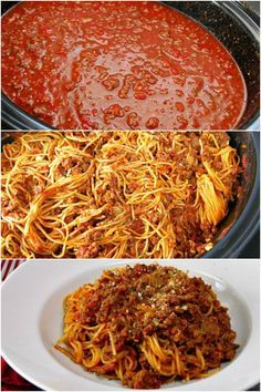 Yes you can cook spaghetti in your slow cooker! Make a slow cooker spaghetti sauce with meat and let it simmer. Add in pasta during the last 30 minutes for an easy delicious dinner that's perfect for potlucks!