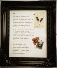 FATHER OF THE BRIDE framed poem, created by Only Fools and Flutterbyes, an ideal gift from the Bride for her father on her wedding day.  £32 inclusive of frame and postage. Can also be personalised on request. To order or enquire email amy@onlyfoolsandflutterbyes.com xx