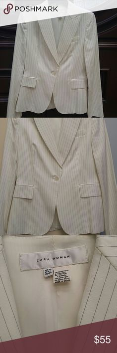 "NWOT ZARA WOMEN TAILORED BLAZER JACKET NWOT ZARA WOMAN TAILORED BLAZER JACKET Brand new without tags Zara Woman Size 6 (chest 32.3"", waist 25.2"", hips 35.4"")- Zara Woman size chart Gorgeous tailored, fitted, lined, long sleeve blazer jacket.  ivory color, thin gray pinstripe line accent, back opening, Lapel collar  2 lower front flap pockets, 1 upper chest flap pocket One button fastening Material: outershell- 51% Rayon 49% Cotton, Lining- 100% Rayon RN# 77302 Zara Jackets & Coats Blazers"