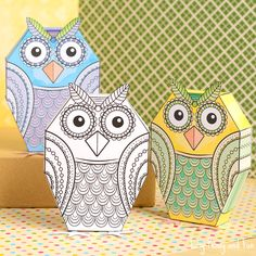 "We've got an owelsome and slightly different ""coloring page"" to share with you today! If you are a fan of paper toys and coloring you'll fall in love with these owl paper toys. Quickly turn on your printer and bring out your favorite coloring supplies as it's time to color and fold. Owl Paper Toys to …"
