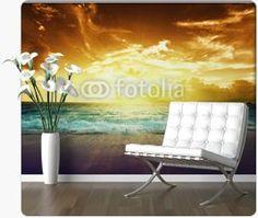 sunset on Seychelles beach Peel Off Wallpaper, Seychelles Beach, Custom Wall Murals, Barcelona Chair, Sunset, Furniture, Big, Design, Home Decor