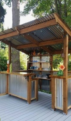 Comfortable Backyard Gazebo Design Ideas is part of Backyard pergola A gazebo conjures up memories of another time if moonlit strolls and long dialog on summer evenings were far more prevalent - Diy Outdoor Bar, Outdoor Kitchen Bars, Backyard Kitchen, Outdoor Kitchen Design, Outdoor Living, Outdoor Decor, Simple Outdoor Kitchen, Outdoor Grill Area, Outdoor Grill Station