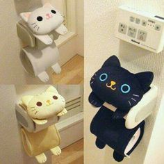 Cat Toilet Paper Holder Roll Storage Cover / Black Tiger Kitty / Fluffy Kawaii in Home & Garden, Bath, Toilet Paper Storage & Covers Cat Toilet Paper Holder Roll My kids would love this! I'm always running out of toilet paper The toilet roll paper holder Cat Crafts, Sewing Crafts, Kids Crafts, Diy And Crafts, Sewing Projects, Diy Projects, Cat Toilet, Toilet Paper Storage, Toilet Paper Rolls