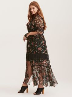 Multi-Color Floral Print Chiffon Crochet Inset Maxi Dress | Torrid