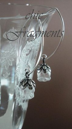 Genuine LALIQUE MUGUET CRYSTAL Earrings Sterling by chicfragments, $225.00