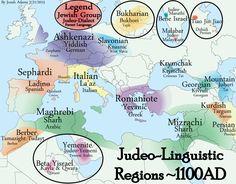 Judeo-Linguistic Regions circa 1100AD
