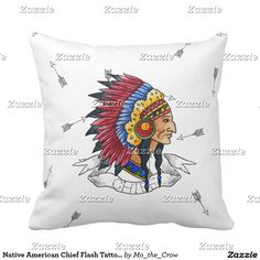 Native American Chief Flash Tattoo-style Throw Pillow