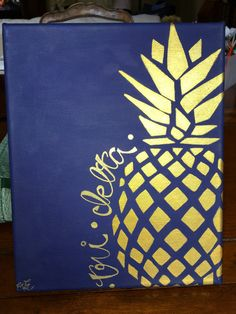 Tri Delta Pineapple Canvas. Navy background with Gold detailing. Adorable and perfect for Bid day and little! 2017.
