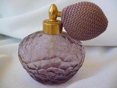 Vintage Purple Amethyst CUT GLASS PERFUME ATOMIZER BOTTLE Lavender Estate Find