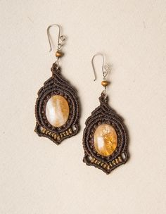 Macrame citrine quartz earrings, pendants, macrame with gemstone, vintage, jewelry in macrame,  yellow, brown, lady gift,  elegant jewelry