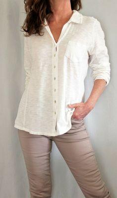 690f25172 J Jill 100% Cotton L Sleeve Button Down High Low Style Slub Shirt White Sz