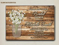CHECK OUT ALL OUR RUSTIC BRIDAL ITEMS!! https://www.etsy.com/shop/GlamtasticInvites/search?search_query=Rustic+Bridal&order=date_desc&view_type=gallery&ref=shop_search  You can copy and paste this into your message for ease of personalization Please note most invites that show all capitalization are not all caps so please do not send your info in All Caps!!  • Name • Party Information (Date, Time, Venue, Address, RSVP) • Your preferred saying or/phrase • Any additional information…