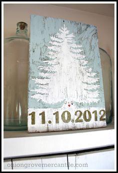 Evergreen Tree of Love, handpainted by  Onion Grove Mercantile www.oniongrovemercantile.com