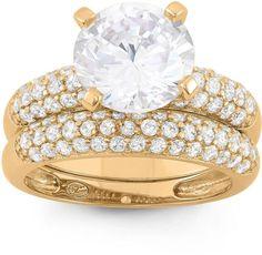 Fine Jewelry Womens 6 Ct.T.W. White Cubic Zirconia 14K Gold Over Silver Bridal Set L9tSXNzy