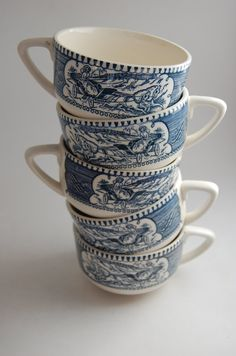 Vintage Currier and Ives transferware cups by TumbleweedsandThyme, $22.50