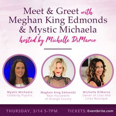 Eventbrite - Lilac and Lilies Boutique presents An Evening at Lilac and Lilies, with Meghan King Edmonds & Mystic Michaela - Thursday, March 2019 at Lilac and Lilies Boutique, Fort Lauderdale, FL. Find event and ticket information. Celebrity Psychic, Meghan King Edmonds, Aura Colors, Lily Boutique, Real Housewives, Cellar, Housewife, Lilies, Orange County