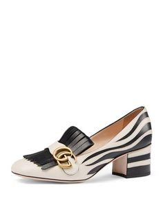 Marmont Fringe Suede 55mm Loafer, Argento by Gucci at Neiman Marcus.