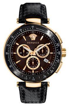 Versace 'Mystique Chrono' Guilloche Dial Watch, 43mm | Nordstrom