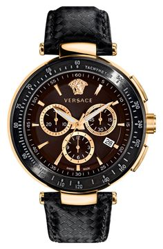 Versace 'Mystique Chrono' Guilloche Dial Watch, 43mm | Nordstrom