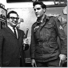 *FEBRUARY 20, 1960 ~ Sgt. Elvis Presley of the United States Army's 3rd Armored Division gets read to do an interview @ Ray Barrack's a few days before returning home & resuming his musical carrer.