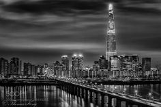 Night Scene of Lotte Tower - Lotte Tower with the height of 555m(1730ft) high is the tallest building in Korea.