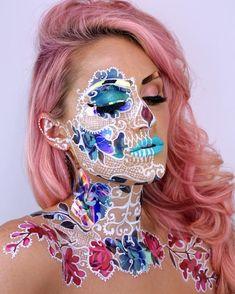The Skulltress - Vanessa Davis Skeleton Makeup, Skull Makeup, Makeup Art, Face Paint Makeup, Airbrush Makeup, Crazy Makeup, Pretty Makeup, Cosplay Makeup, Costume Makeup
