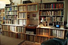 More books and vinyl mixed....where do the speakers always go?