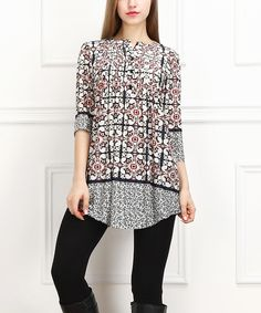 Another great find on #zulily! Navy & White Mosaic Notch Neck Tunic by  #zulilyfinds